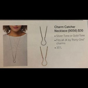 Thirty One Charm Catcher Necklace NIP Silver